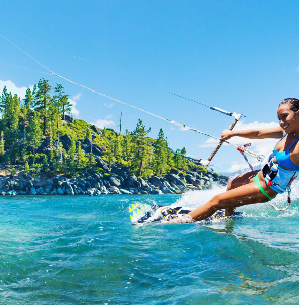 Kiteboard Tahoe kite surf course.  Tahoe adventures